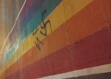 Rainbow crosswalk vandalized with swastikas in gay village