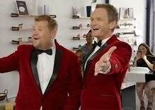 Watch James Corden & Neil Patrick Harris deliver singing telegrams