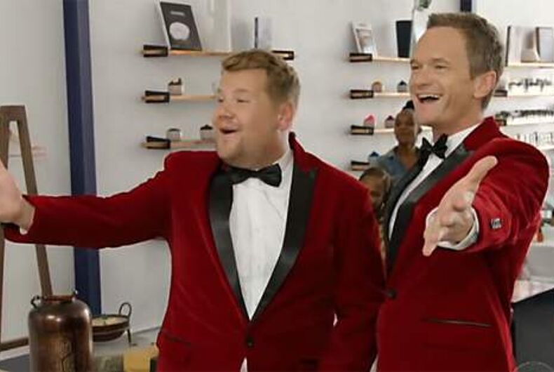 James Corden and Neil Patrick Harris deliver singing telegrams.