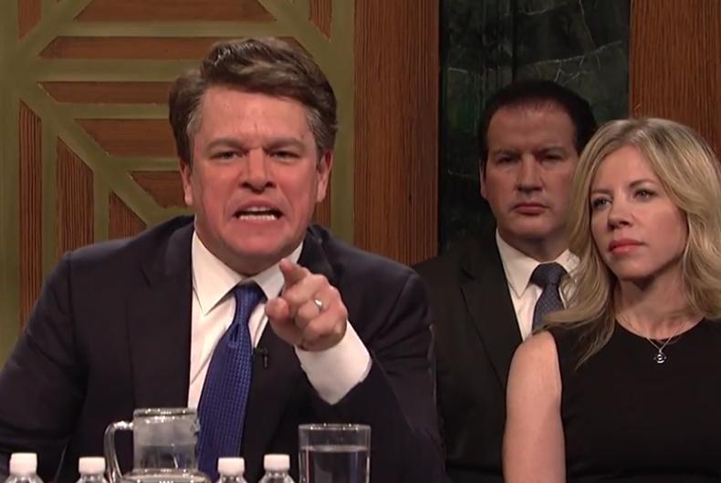 Matt Damon portraying Brett Kavanaugh on Saturday Night Live