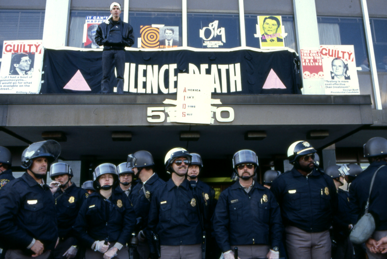 Police guard the FDA headquarters after ACT UP members stormed the building demanding better access to life-saving drugs.