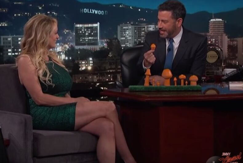 Stormy Daniels shows Jimmy Kimmel the size of Donald Trump's