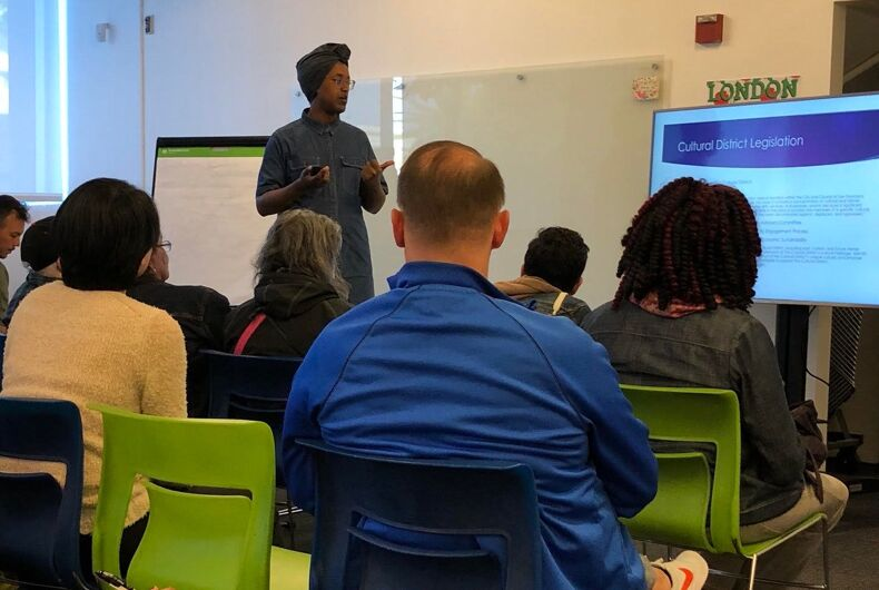 Honey Mahogany, head the Cultural District Coalition, leads a community meeting at the city's Mayor's Office of Transgender Initiatives for feedback on the Compton's Transgender Cultural District.