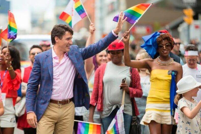 Canadian Prime Minister Justin Trudeau with trans activist Biko Beauttah at Pride Toronto