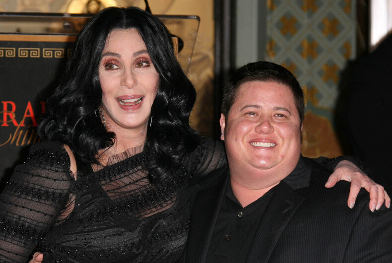 11-18-2010: Cher and Chaz Bono at Cher's Hollywood Walk of Fame hand and footprint ceremony in front of Grauman's Chinese Theatre in Hollywood, CA.