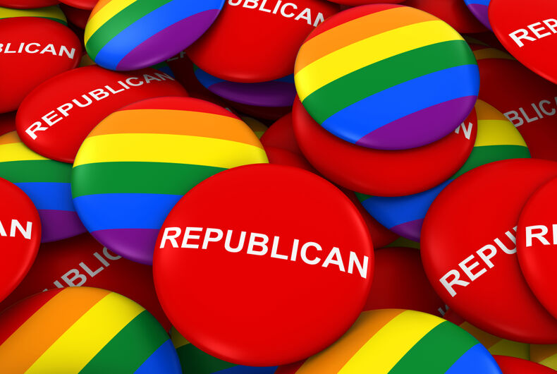 Rainbow and Republican buttons