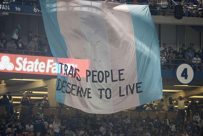 Activists from the TransLatin@ Coalition unfurled this huge banner during the final game of the World Series last night.