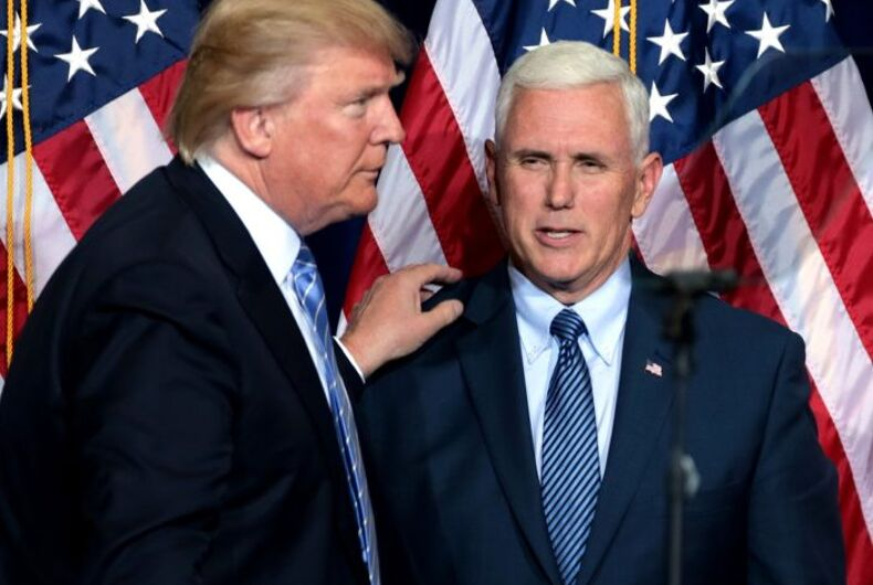 Donald Trump and Mike Pence in front of American flags