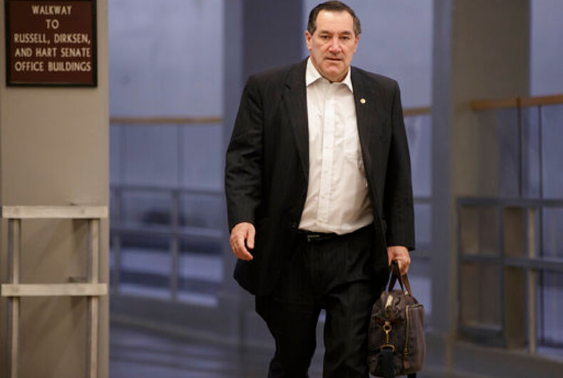 FILE - In this Friday, Feb. 3, 2017, file photo, Sen. Joe Donnelly, D-Ind., arrives early on Capitol Hill in Washington. Donnelly says he'll support the nomination of Judge Neil Gorsuch to the U.S. Supreme Court. The Indiana Democrat announced his support on Sunday, April 2, 2017, for President Donald Trump's pick, calling Gorsuch