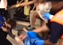 Three drunk trans women were caught on video brutally beating up a man in a subway station