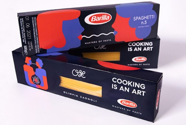 Three boxes of Barilla pasta with red and blue drawings of women sharing spaghetti on a white background.