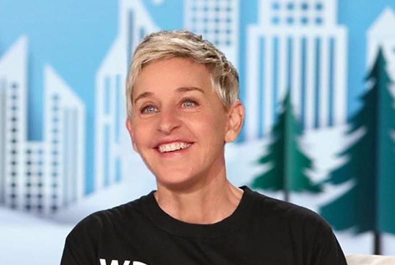 Ellen Degeneres in a T-shirt that reads