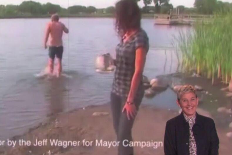 Ellen makes fun of a political ad.