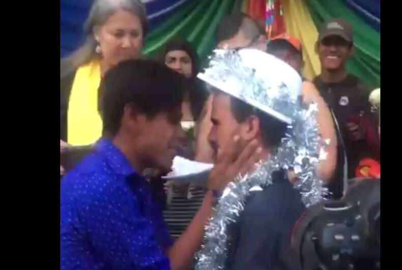 Two men geting married