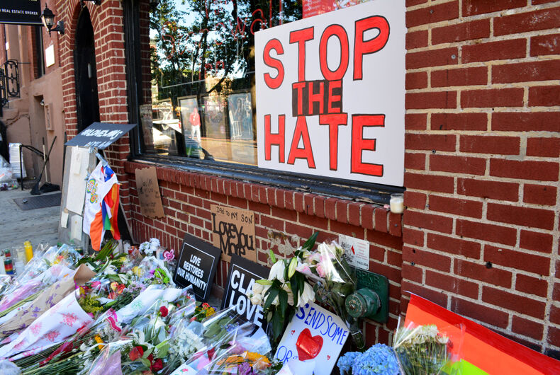 New York City, USA - June 13, 2016: Memorial outside the landmark Stonewall Inn for the victims of the mass shooting at Pulse nightclub in Orlando, Florida.