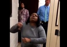 School officials caught on video busting into bathroom stall with trans girl inside