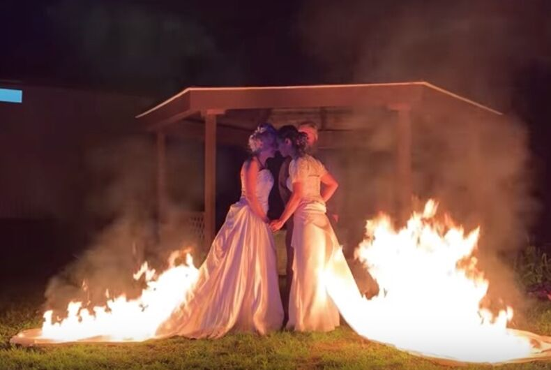 April Jennifer Choi, 32, and Bethany Byrnes, 28, set their dresses on fire during their wedding ceremony.