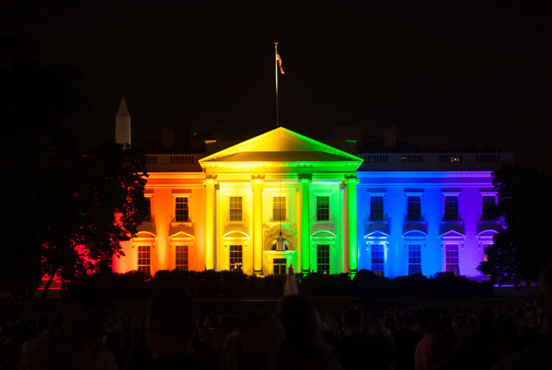 The White House is lit up in rainbow colors to celebrate the Supreme Court's opinion legalizing gay marriage in all fifty states on June 26, 2015