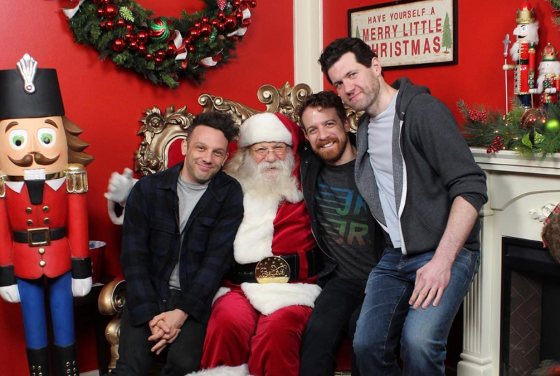 Billy Eichner and a gang of friends climbed on an older man's lap and asked him for