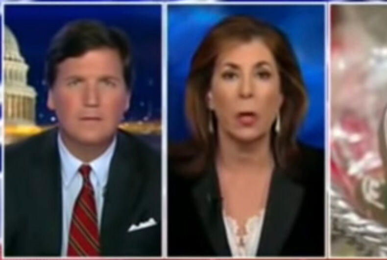 Tucker Carlson, Tammy Broce, and a pair of Gingerbread Persons