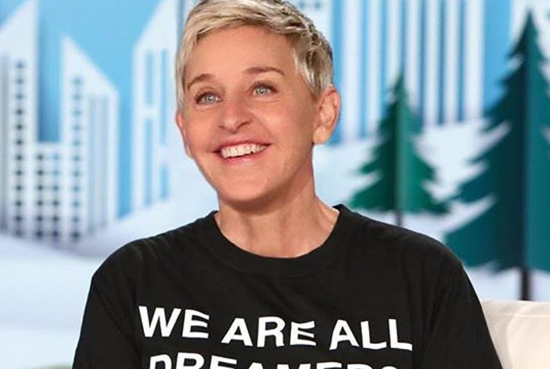 Ellen wearing a black T-shirt that says
