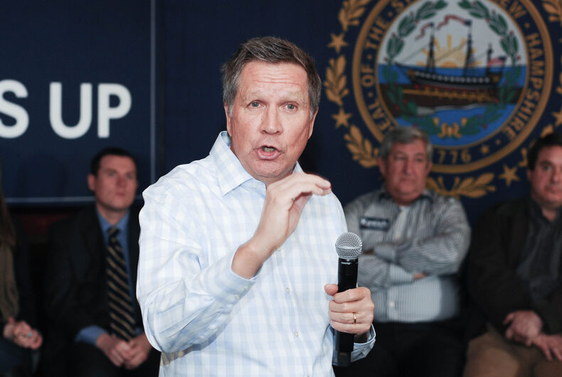 Ohio Governor John Katich speaks at the Stone Church in Newmarket, New Hampshire, on January 17, 2016, during the New Hampshire presidential primary.