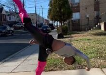 A gay boy did martial arts in pink thigh-high heels. It's awesome.