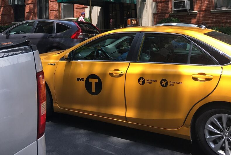A yellow taxi
