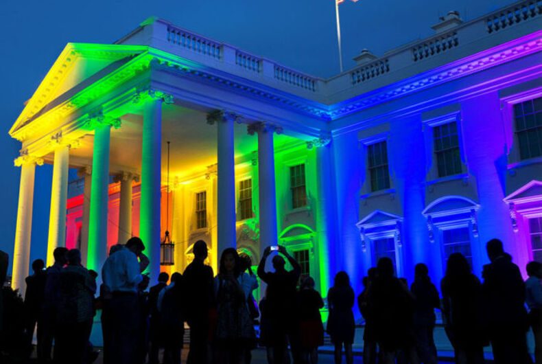 The White House in rainbow colors.