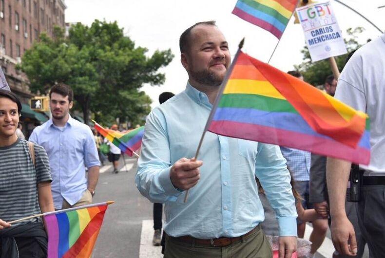 New York City city councillor Corey Johnson in the 2017 pride parade.