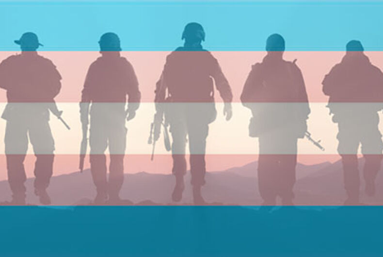 Transgender flag with silhouettes of soldiers