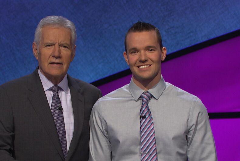 Jeopardy host Alex Trebek and contestant John Presloid