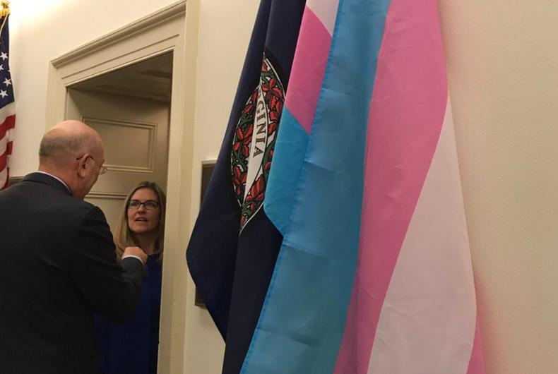 The trans flag hangs outside of freshman Democratic Congresswoman Jennifer Wexler's office.