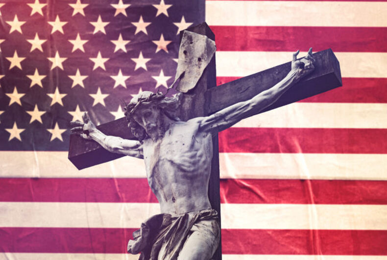 Jesus in front of an American flag