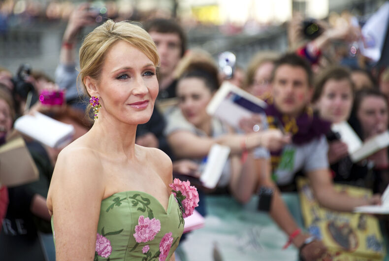 JK Rowling arriving for the World Premiere of