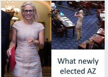Republican politician criticizes out Senator Kyrsten Sinema's clothing. Yes, he's a man.