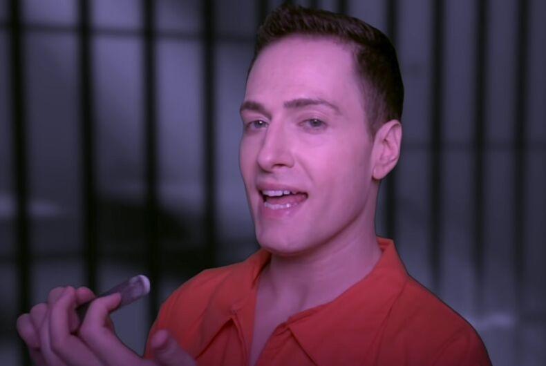 Randy Rainbow in an orange jumpsuit.