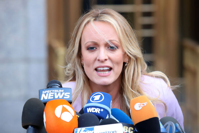 Stormy Daniels holds a press conference after leaving federal court on April 16, 2018, in New York.
