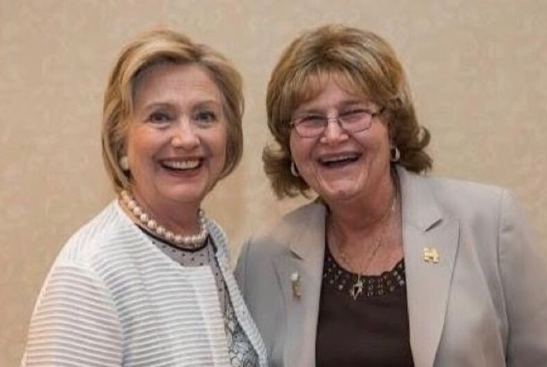 Then-Presidential candidate Hillary Clinton and trans political trailblazer Babs Siperstein