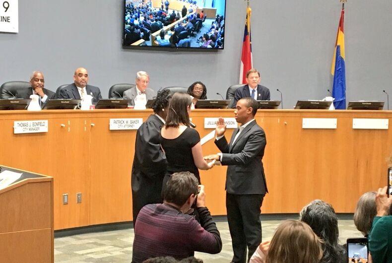 Vernetta Alston is sworn in as a Durham, North Carolina, city councilor