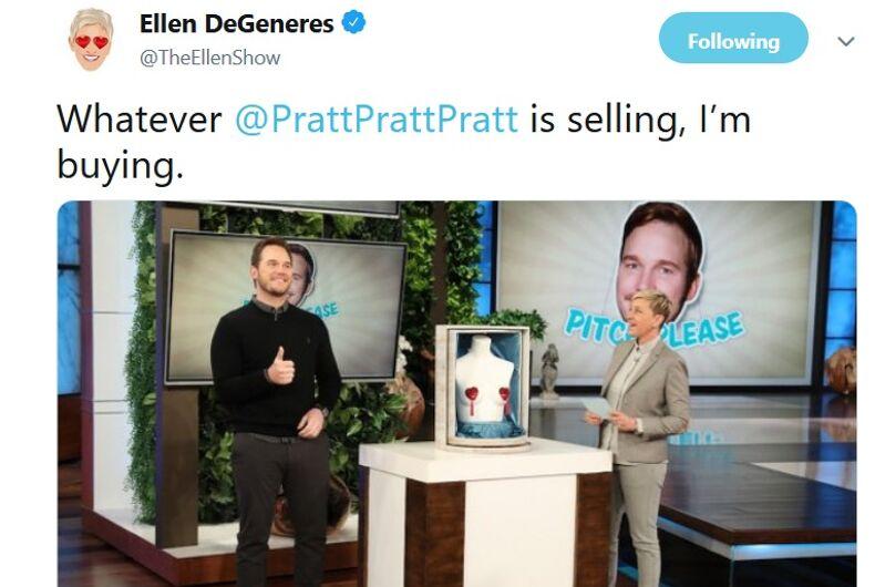 A Tweet from Ellen promoting a segment with Chris Pratt