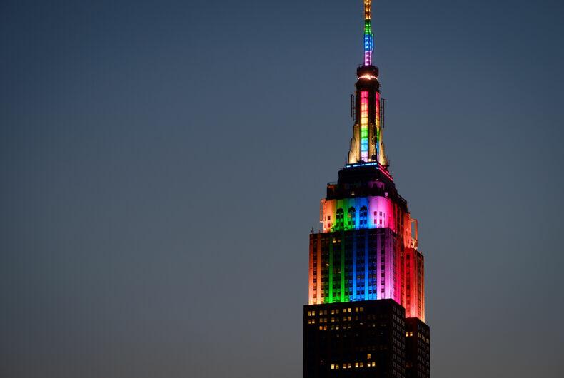 Top of Empire State Building at twilight in rainbow colors in honor of the Orlando shooting victims - June 26, 2016