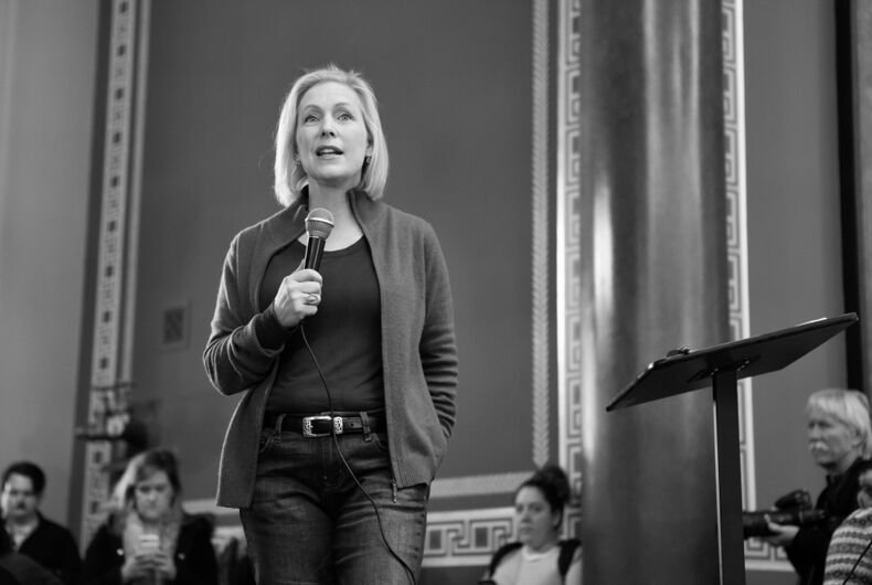 January 19, 2019 Presidential candidate Senator Kirsten Gillibrand (D - New York) speaks at the 2019 Women's March at the Iowa State Capitol in Des Moines, Iowa.