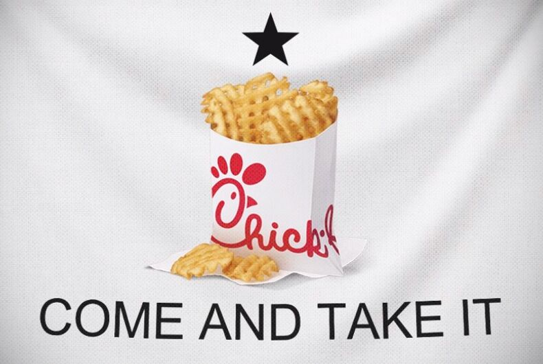 Texas Attorney General Ken Paxton tweeted his support of the anti-LGBTQ fast food chain Chick-fil-A with this graphic