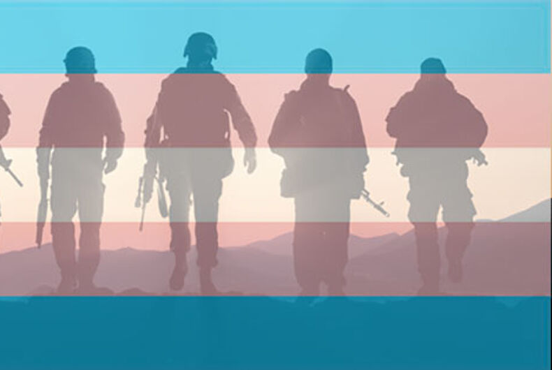 Silhouettes of troops on the transgender flag