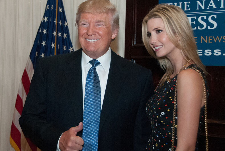 MAY 27, 2014 - Real estate mogul Donald Trump and his daughter Ivanka pose before his luncheon speech to the National Press Club.