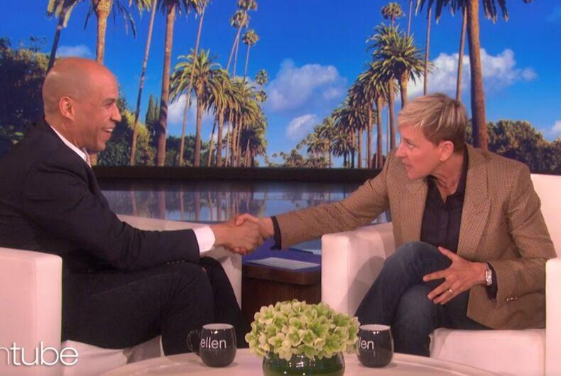 Ellen and Cory Booker shake hands