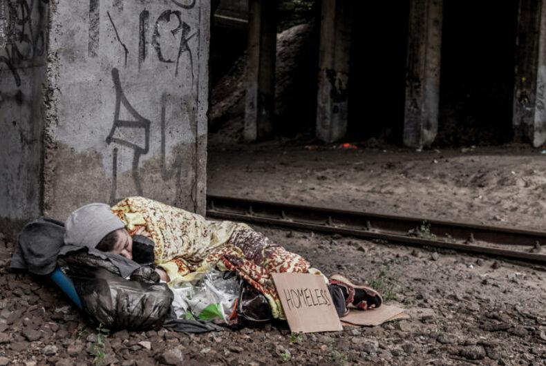 A homeless woman