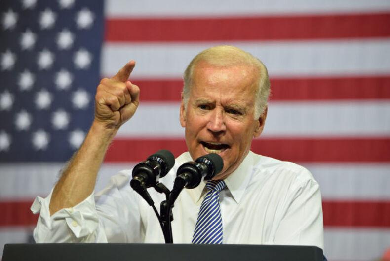 Joe Biden in front of an American flag