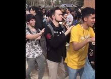 These students formed a giant conga line & had a dance party to shut down anti-LGBTQ protesters